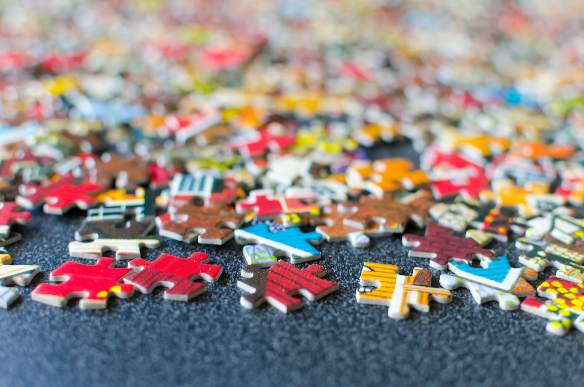 Close up shot of jigsaw puzzle pieces