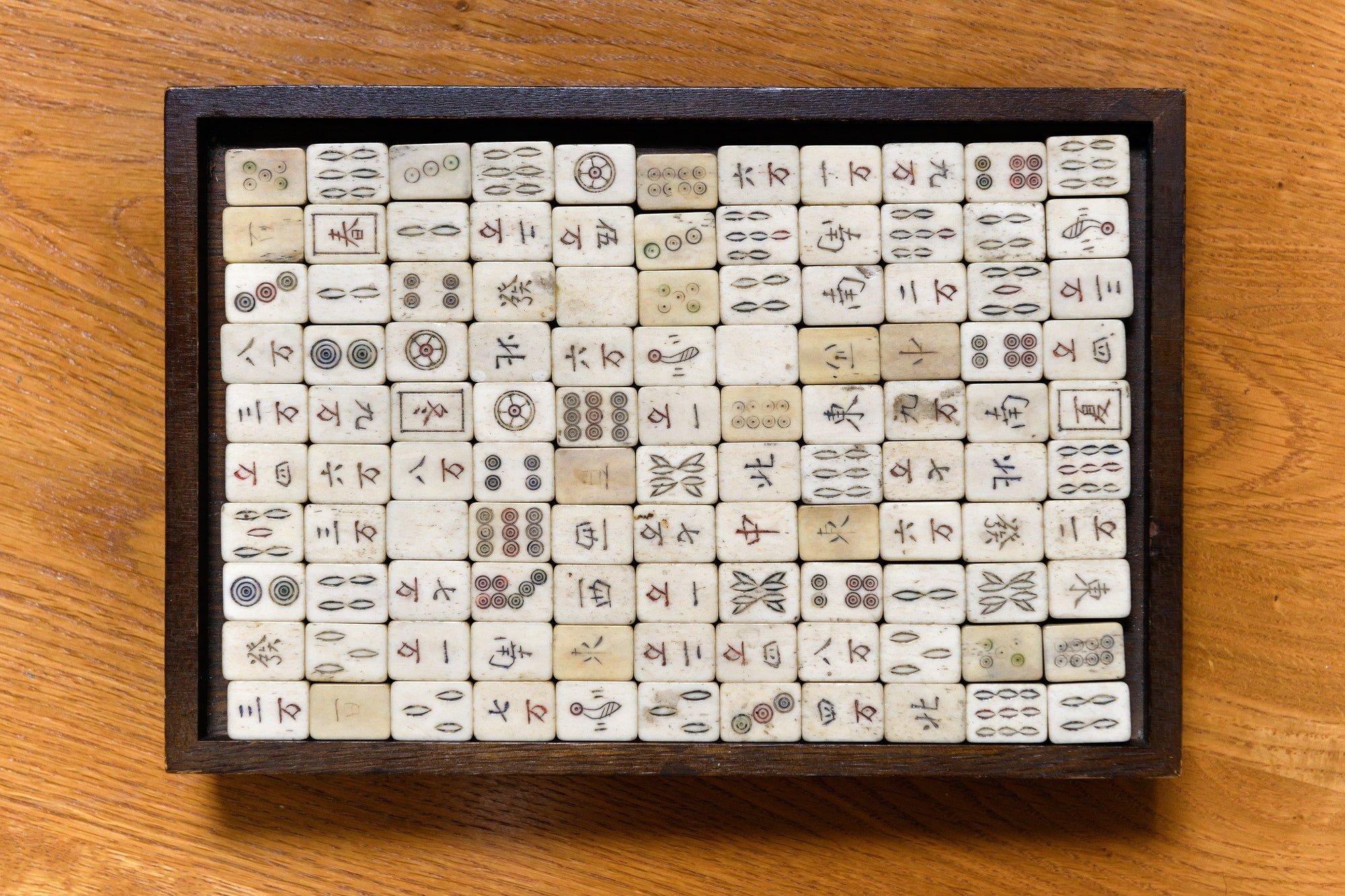 Top down on a vintage mahjong game